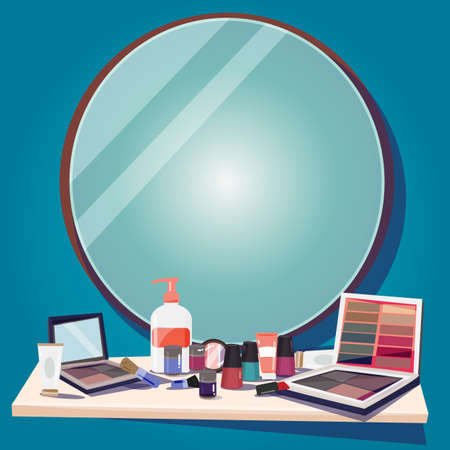 look in mirror: cosmetics for makeup and mirror to replace your text - vector illustration