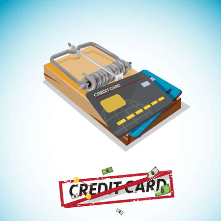 booby: Credit Card Trap, Predatory Lending concept - vector illusttration