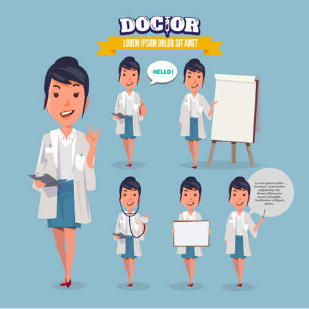girl stethoscope: Smart doctor presenting in various action. character design. doctor and healthcare concept - vector illustration