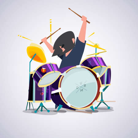 drummer with his drum set.Rock concept character design - vector illustration