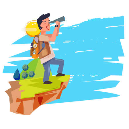 explorer man with telescope. backpacker character. adventure concept - vector illustration