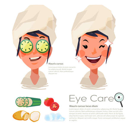 beautiful woman with sliced cucumber on her eyes. eyes care concept. tomato. slice - vector illustration