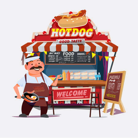 hot-dog outdoor cart met verkoper. chef-kok karakter desgin - vector illustratie
