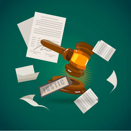 judge gavel with sheet of paper. justic concept - vector illustration