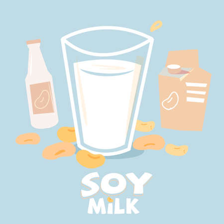 soybean milk in glass with bottle and box package. typographic - vector illustration