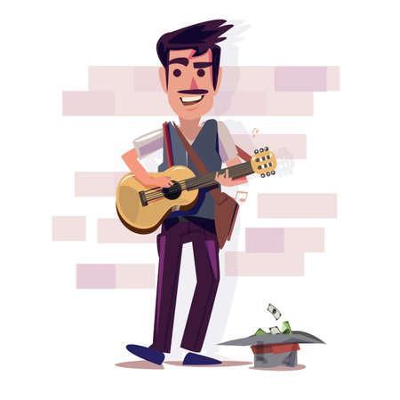 straatmuzikant gitaar spelen met doneren hoed en geld. Characterdesign - vectorillustratie