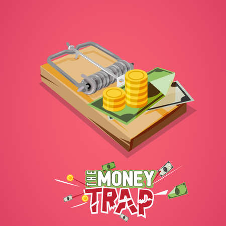 pitfall: money trap. Business trap concept with typographic - vector illustration