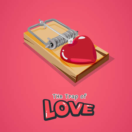 mantrap: trap with red heart, love concept - vector illustration Illustration