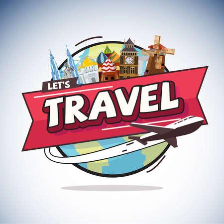 vliegtuig rond de wereld met de stad landmark. Travel concept - vector illustratie