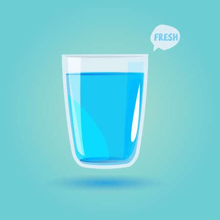 Bicchiere d'acqua potabile. Concetto di bevande sane - illustrazione vettoriale Archivio Fotografico - 69145046