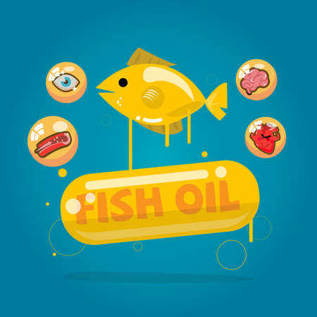 fatty liver: fish oil capsules. Cod liver oil with benefit - vector illustration Illustration