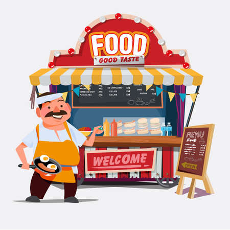 food trolley with chef character - vector illustration Иллюстрация