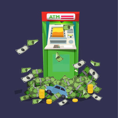 ATM Machine with a lot of money. rich concept - vector illustration 向量圖像