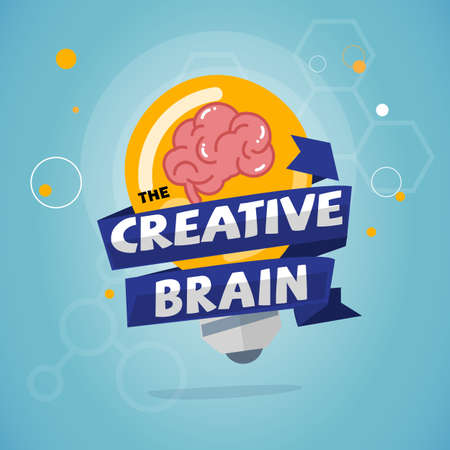 light bulb with brain inside creative brain and idea concept - vector illustration Illustration