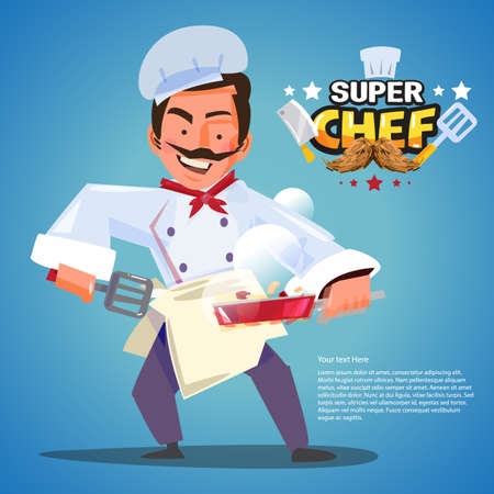 chef in cooking action with typographic design. character design - vector illustration