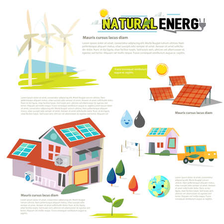 natural energy: natural energy. Ecology Infographic - vector illustration