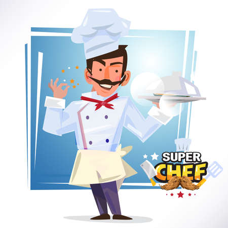 smart chef serving a tray of food. delicious concept. character design - vector illustration Illustration