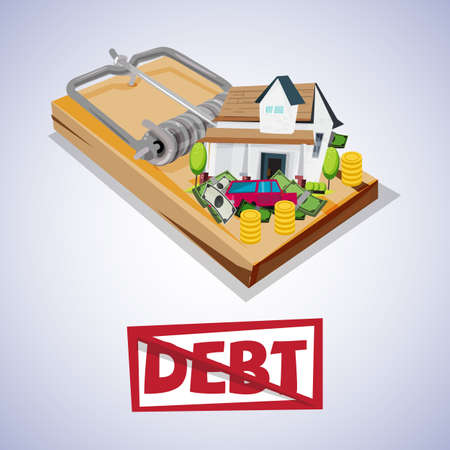 pitfall: house and car with money on trap. debt trap concept - vector illustratiob