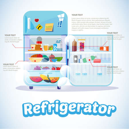 Opened Refrigerator with Full Of Food. infographic - Vector Illustration Illustration