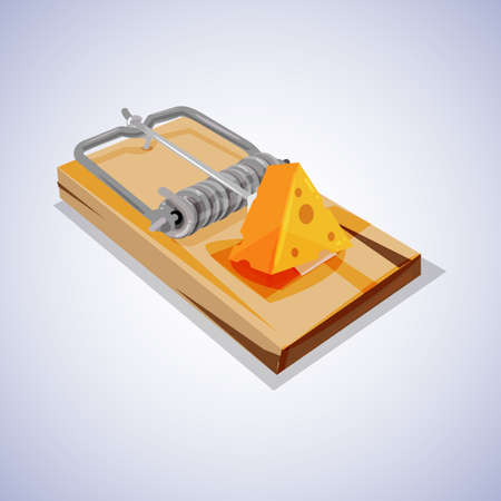 mouse trap: trap with cheese. Concepts could include risk, reward, danger