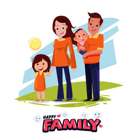 happy family character design with typographic design - vector illustration Фото со стока - 70670373
