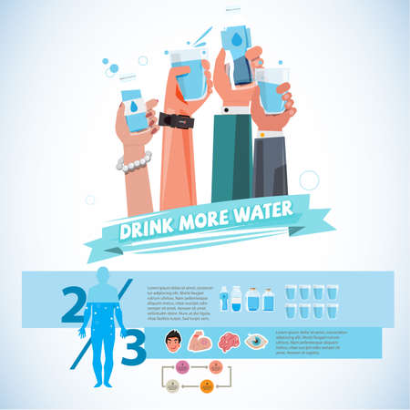 water: Various smart Hands holding bottle and cup of drink water. healthy drink water concept - vector illustration Illustration