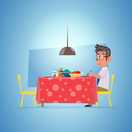 one man waiting dinning. lonely concept - vector illustration