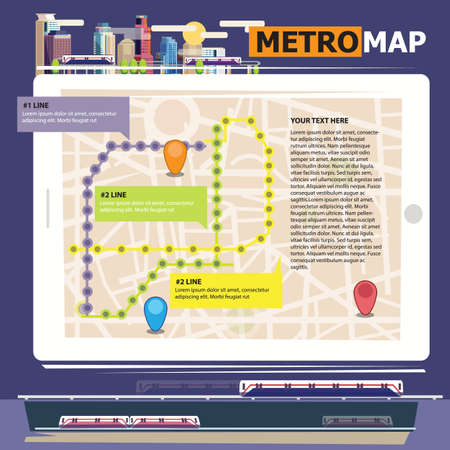 railway transport: Metro scheme, railway transport and city bus map with city background Subway - vector illustration