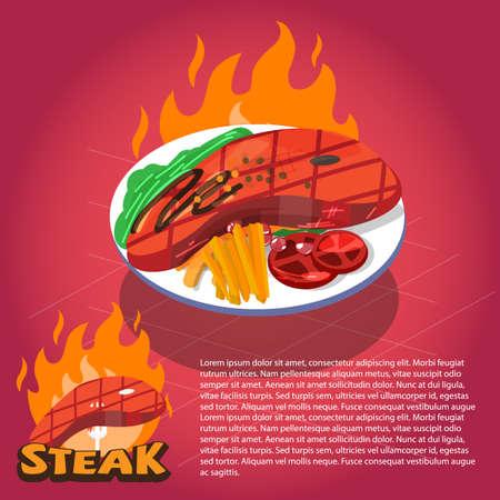 steak plate: steak plate with fire background. typographic desgin. hot steak - vector illustration