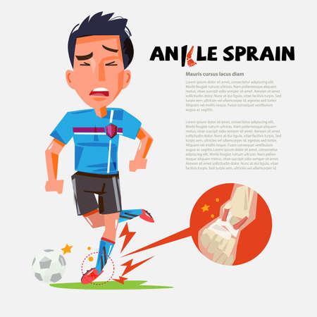 jugador de fútbol con tobillo torcido. diseño de personaje. lesiones durante el entrenamiento - ilustración vectorial