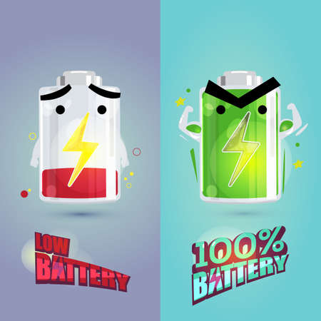 low battery and full battery character design. power of enerygy concept - vector illustration Illustration