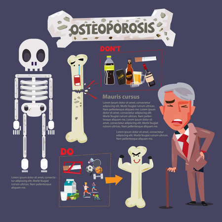 Osteoporosis infographic icon with typographic design - vector illustration Иллюстрация