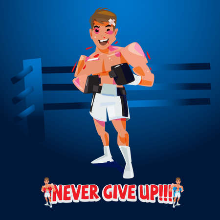 """injury boxer with """"Never give up text"""" - vector illustration"""
