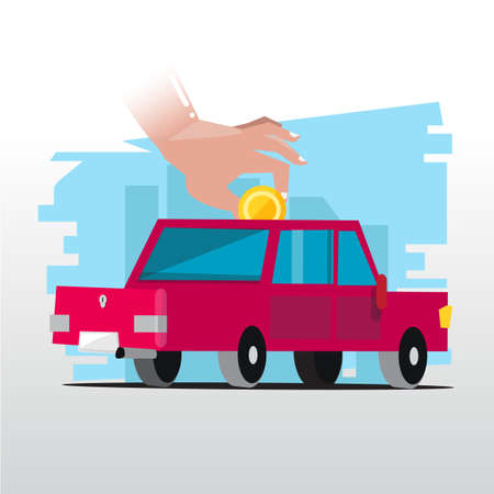 hand insert coin to car. investing money in the car - vector illustration Ilustrace