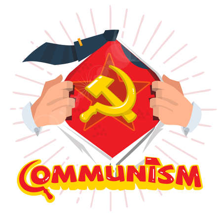 남자는 인쇄 디자인으로 사회주의 상징을 보여주기 위해 셔츠를 엽니 다. 공산주의 힘 개념 - 벡터 일러스트 레이 션 스톡 콘텐츠 - 85262791