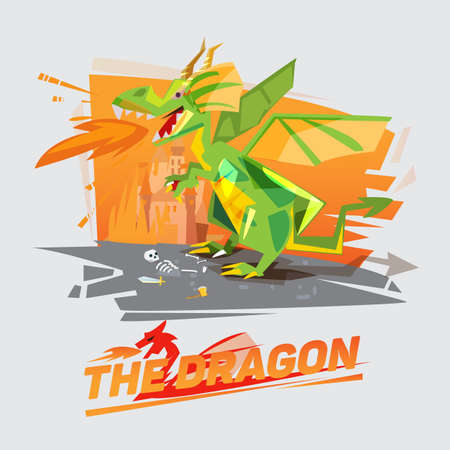 dragon character throwing fire with castle in background. typographic design - vector illustration