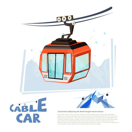 cablecar with typographic design - vector illustration Çizim