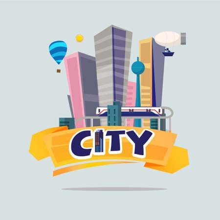 big city. logo concept - vector illustration Illustration