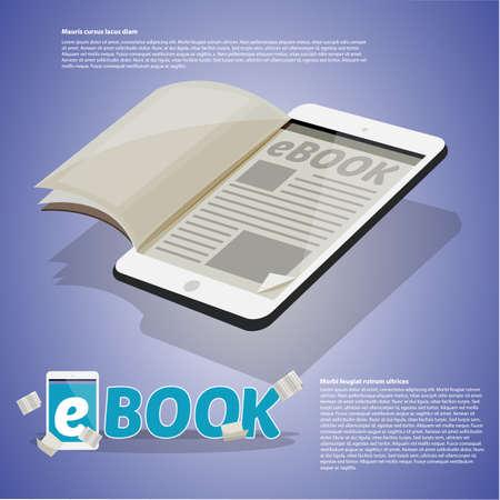 タブレット、電子書籍のコンセプトに紙。組版デザイン-ベクターイラスト  イラスト・ベクター素材
