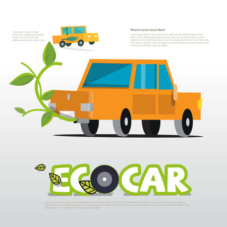 Eco-autoconcept met typografisch - vectorillustratie Stock Illustratie