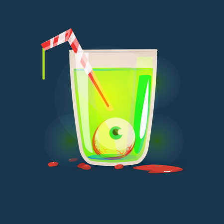 Eyeball in Glass cup. dead eye. halloween concept - vector illustration Illustration