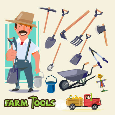 hick: farmer character with farm tools set - vector illustration Illustration