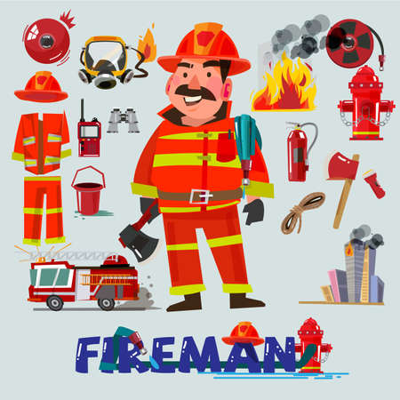 Firefighter with and first help equipment. character design. Fire truck and tools - vector illustration Иллюстрация