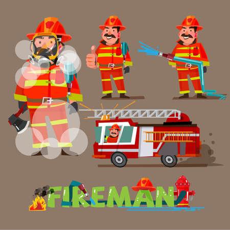 アクションで消防士。組版デザインのキャラクターセット-ベクターイラスト