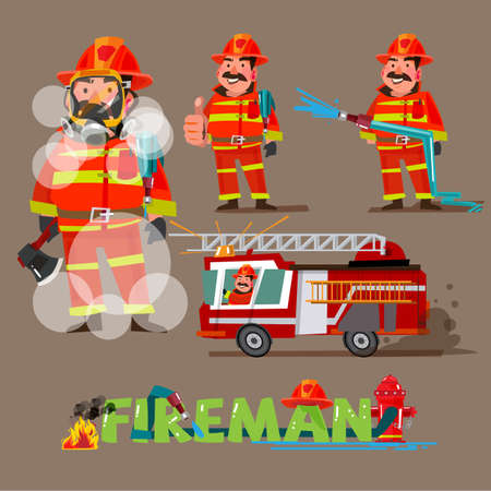 fireman in action. character set with typographic design - vector illustration