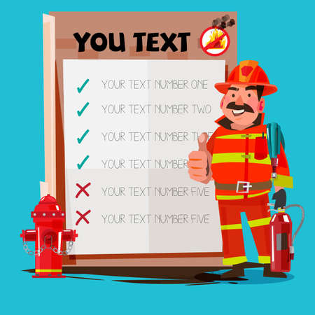 消防士は、プレゼンテーション ボードと親指を示します。安全コンセプト - ベクトル図