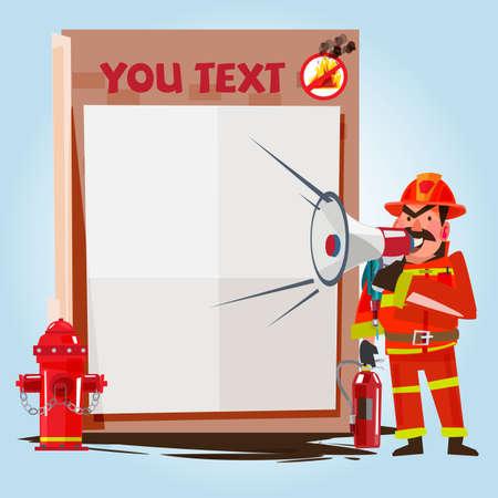 safty: Firefighter Shouting Into Megaphone with presentation board - vector illustration Illustration