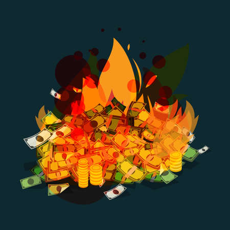 burning money - vector illustration