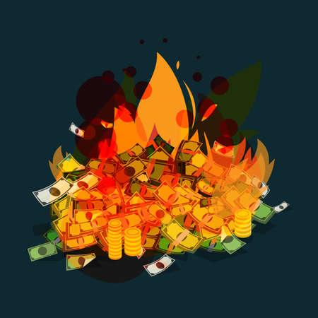 brandend geld - vectorillustratie