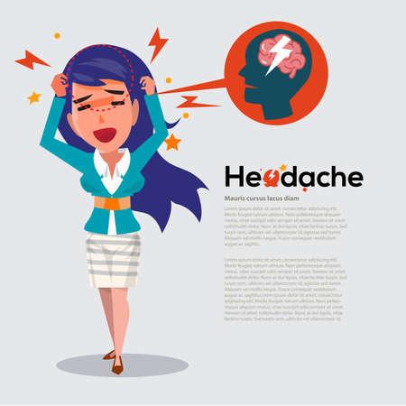 스마트 여자 두통 - 의료 및 편두통 개념 - 벡터 일러스트 얻을